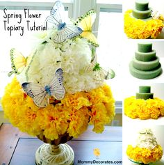 How To Make A Spring Flower Topiary  Families Make This Easy DIY Spring Time Flower Cake Today