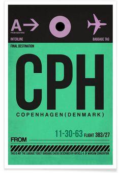 CPH-Kopenhagen als Premium Poster von Naxart | JUNIQE