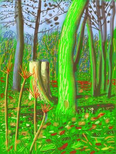 In this interview, British artist David Hockney speaks with Canadian Art editor Richard Rhodes about his current Toronto show. As Rhodes notes, Hockney's drawings on iPhones and iPads provide both classical and high-tech rewards. David Hockney Landscapes, David Hockney Artist, David Hockney Ipad, David Hockney Paintings, Abstract Landscape, Landscape Paintings, David Hockney Photography, Pop Art, Gravure Illustration