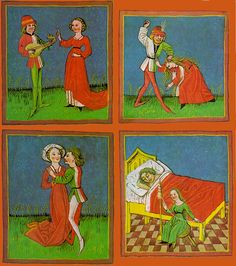 THE 4 TEMPERAMENTAL CATEGORIES AS DEFINED BY GALEN ON THE BASIS OF HIPPOCRATIC THEORY OF THE HUMOURS (15th century manuscript illuminations): #Sanguine (top left): excess of blood (energetic, courageous, hopeful, amorous) #Choleric (top right): excess of yellow bile (bad tempered, controlling) #Phlegmatic (bottom left): excess of phlegm (indifferent, sarcastic) #Melancholic (bottom right): excess of black bile (sulky, pessimistic, self-destructive)