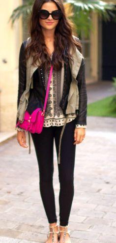 Neutral boho + hot pink bag.