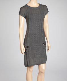 Take a look at this She's Cool Gray Cable Knit Sweater Dress on zulily today!