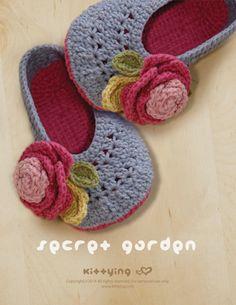 Secret Garden Women's House Ballerina Crochet PATTERN by Kittying.com | This pattern includes U.S. women's sizes of 5 - 10.