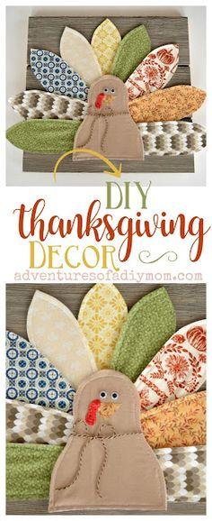 Make this adorable turkey wall plaque for your home decor. Using an eclectic mix of fabrics for the tail feathers and some weathered shiplap for the base, you can create a fun and whimsical decoration perfect for the Thanksgiving season. #thanksgivingcraft #thanksgivingcraftideas #adventuresofadiymom #diyturkeycraft #diythanksgivingdecor Thanksgiving Crafts For Kids, Thanksgiving Decorations, Diy Crafts For Kids, Fall Crafts, Holiday Crafts, Thanksgiving Turkey, Thanksgiving Recipes, Turkey Decorations, Kids Diy