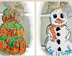 Reversible Door Hanger Stacked Pumpkins/Snowman