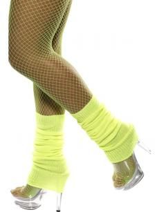 Ladies Neon Yellow Dotty Tights One Size Witch Halloween Fancy Dress Accessory