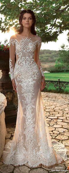 Sexy Sheath Wedding Dress Lace Mermaid Long Sleeve Bridal Gowns #wedding #weddingideas #weddings #weddingdresses #weddingdress #bridaldress #bridaldresses