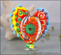 MICHOU A Lampwork Beads   Large glass heart focal by michoudesign, $149.00