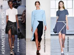 SS2014 Trend report - Asymmetrical Skirts: Showing a flash of leg with an asymmetrical 'wrap' front.