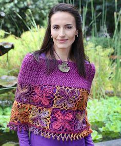 Hekel 'n warm wintersjaal Bolero Top, Crochet Fashion, Handicraft, Crochet Top, Crochet Patterns, Stripes, Instagram, Warm, Knitting