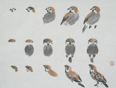 Japanese Ink Painting, Sumi E Painting, Japan Painting, China Painting, Watercolor Paintings, Japanese Drawings, Bird Drawings, Japanese Art, Sparrow Art