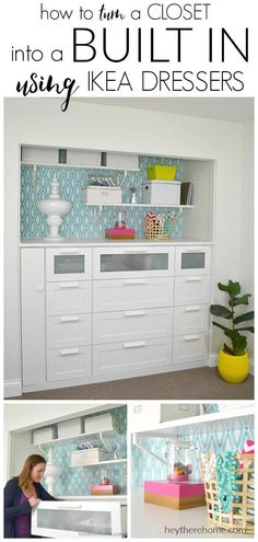 IKEA HACK how to turn a standard closet into a built in for craft storage using . - Home Decor -DIY - IKEA- Before After Master Closet, Closet Bedroom, Closet Dresser, Closet Into Office, Bathroom Closet, Diy Bedroom, Ikea Dresser Hack, Craft Room Closet, Diy Dressers