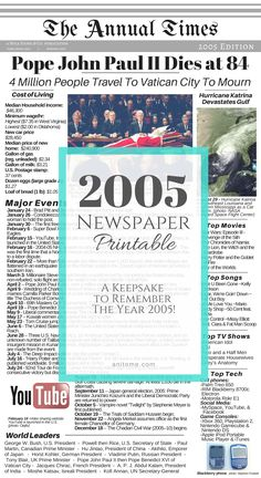 A snapshot of the year Includes 2005 Cost of Living, World Leaders, Major Events, Technology, and Popular Culture! A wonderful keepsake to remember the year Major Events, Old Newspaper, Baby Girl Names, Everything Baby, School Hacks, World Leaders, Time Capsule, Book Journal, Popular Culture