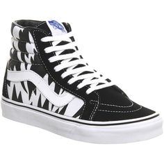 Vans Sk8 Hi Reissue ($94) ❤ liked on Polyvore featuring shoes, sneakers, black white print eley, trainers, unisex sports, vans trainers, sports footwear, vans shoes, sporting shoes and print sneakers
