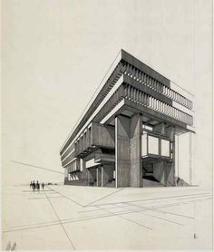 A new exhibition on the origins of the controversial Boston City Hall City Hall Architecture, Amazing Architecture, Boston City Hall, Boston Town, Architecture Drawing Sketchbooks, Building Sketch, Urban Nature, Concrete Building, Arquitetura