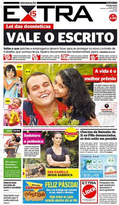 31-03-2013 - Capas do Jornal Extra - Primeira página do Jornal Extra do Rio - Extra Online