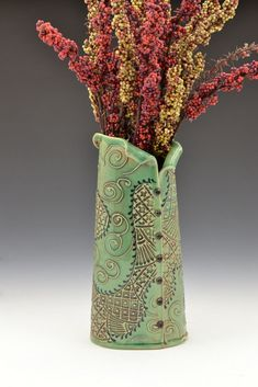 Mother's Day Vase with Buttons inspired by farbics embroidery by Creative with Clay Charan Sachar. $98.00, via Etsy.