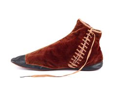 Side-lacing gaiter brown velvet boots with leather toes and back.  Great Britain. c 1830-40