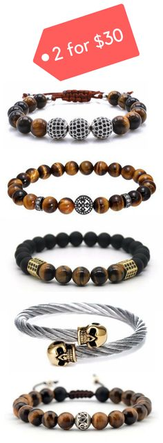 Get any 2 mens bracelets for $30 & with Free Worldwide Shipping. Click to see 15 + styles to choose from.
