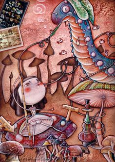 Alice in Wonderland - the Blue Caterpillar by Alessandra Fusi