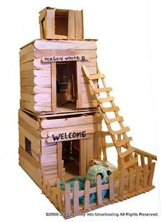 popsicle stick fort - make for Squinkies, Littlest Pet Shop or Polly Pockets.