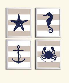 Items similar to Nautical Nursery Art Prints, Boy Nursery Nautical Navy Grey Wall Art, Seahorse Anchor Sea Life Beach Ocean Nursery Wall Decor, Set of 4 Art on Etsy Nautical Prints, Nautical Pillows, Nautical Art, Nautical Nursery, Nursery Wall Decor, Nursery Design, Nursery Art, Seaside Decor, Coastal Decor