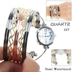 $4.89 Fashionable Multi-Strand Rings Bangle Design Quartz Watch with Numerals