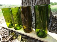 Tall Green and Amber Glass Tumblers made from by ConversationGlass, $34.00