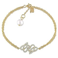 Miadora 14k Yellow Gold Cultured Freshwater Pearl and 1/3ct TDW Diamond Charm Bracelet