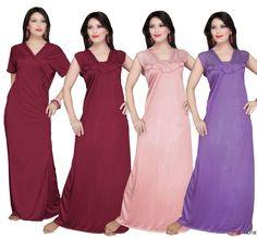HAUTIE SATIN LONG CHEMISE LADIES NIGHTIES WOMENS NIGHTWEAR BATHROBE TWIN SET in Clothes, Shoes & Accessories, Women's Clothing, Lingerie & Nightwear | eBay