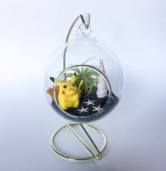 The Pokemon Series: Pikachu I Choose You by TerrariumKits on Etsy Terrarium Kits, Air Plant Terrarium, Pikachu, Pokemon, I Choose You, Glass Vessel, Air Plants, Sea Shells, Reindeer
