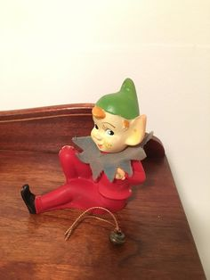 Vintage Christmas Pixie Elf Red and Green Japan Soft Plastic HTF by VintageLove50 on Etsy