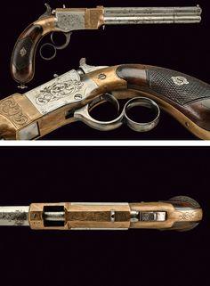 A Venditti-Lancusi breech-loading pistol,    provenance: Italy dating: third quarter of the 19th Century.
