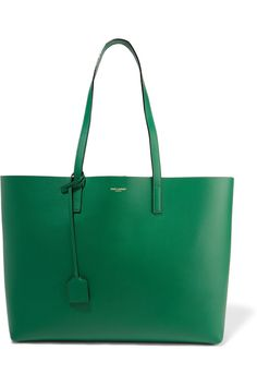 Forest-green leather (Calf) Snap-fastening tab at open top Designer color…