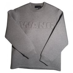 Grey Synthetic Knitwear Sweatshirt ALEXANDER WANG (6015 RSD) ❤ liked on Polyvore featuring tops, hoodies, sweatshirts, menswear, faux tops, gray top, sweat tops, gray sweatshirt and grey sweatshirt