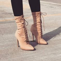 Classy Beige Cross Strap Short Boots Women Sexy Pointy Stiletto Heel Lace Up Ankle Boots Concise Design Fashion Shoes