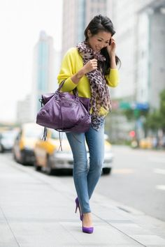 Purple, Jeans, Leopard and Yellow Outfit