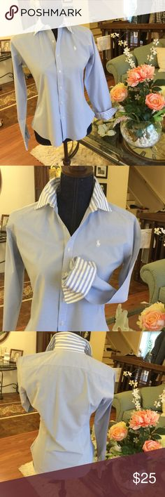Beautiful slim fit Ralph LaurenSuper classy!! Absolutely gorgeous light blue and white very classy with white polo and striped collar and cuffs!!!! Ralph Lauren Tops Blouses