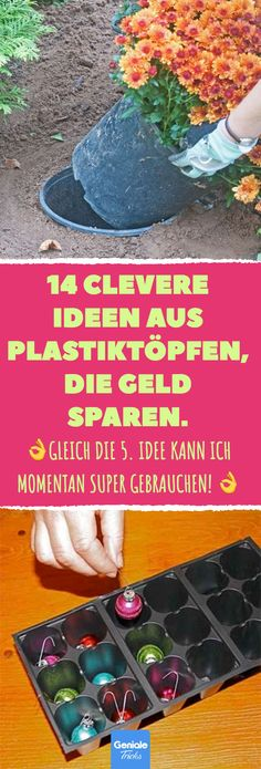 14 clevere Ideen aus Plastiktöpfen, die Geld sparen 14 clever ideas from plastic pots that save money. 14 tricks and ideas on how you can reuse plastic plant pots. # Pots # Plastic pots # F Garden Types, Garden Care, Tetra Pack, Diy Jardin, Plastic Plant Pots, Money Plant, Décor Boho, Upcycled Crafts, Plant Design