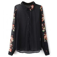 Shirt With Floral Print Collars Sleeves ($20) ❤ liked on Polyvore featuring tops, stylemoi, blouses, shirts & tops, sleeve top and sleeve shirt