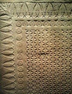 Stone floor, Assyria, 645-640 BCE in the form of a woven and tasseled rug