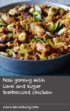 Rick Stein serves up tasty Indonesian fried rice - ideal for barbecues, or for using up leftover cooked meat and veg.For this recipe you will need bamboo skewers long), soaked in cold water for 1 hour. Wild Rice Recipes, Weed Recipes, Asian Recipes, Barbecue Chicken, Marinated Chicken, Recipe Using Chicken, Chicken Recipes, Meat Rice Recipe, Meat Skewers