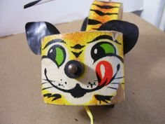 Vintage Fisher Price Pull Toy Tiger # 654 Used but Good condition