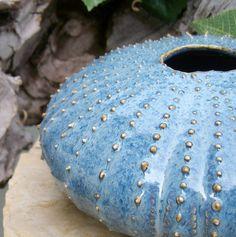 Stormy Blue Sea Urchin Ikebana pot flower vase - handmade studio art pottery from Earth N Elements Pottery