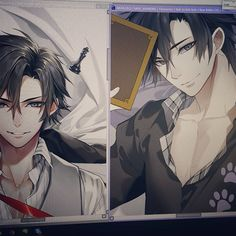Black Jumin vs white Jumin wip (=ↀωↀ=)✧ Also, I always want to see Jumin in a plaid pajama like this~ Have a nice day/ night guys! #mysticmessenger #juminhan