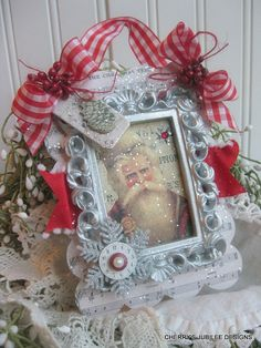 old world CHRISTMAS time clock SANTA with by cherrysjubileecards