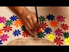 ONE STROKE Beautiful Flowers Design on BOAT NECK TOP / DRESSES / KURTIS | Fabric Painting Designs - YouTube