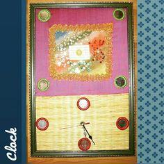 TITLE : Sponge Art. MEDIUM : Acrylic ,Glitter ,Lace and Texture on Sponge. #MeghnaCreations #creations #artclock #spongearte #acrylics #inks #glitter #sequence #nets #lace #onsponge #pinkrawsilk #chattai #background #bigpoints #sequenceart #craftyart #painted #greenframe #gift #mumbai #instaartclock
