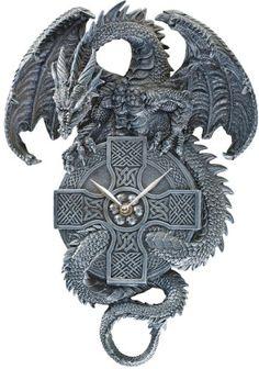 "15"" Gothic Dragon Wall Sculpture Decorative Clock [Kitchen] XoticBrands http://www.amazon.com/dp/B004V09OFW/ref=cm_sw_r_pi_dp_R-R2tb1358RRQKMK"