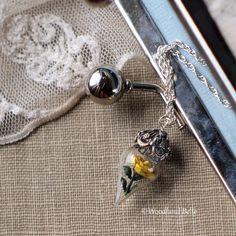 Sunny Yellow Rose Flower Tiny Terrarium Necklace by WoodlandBelle